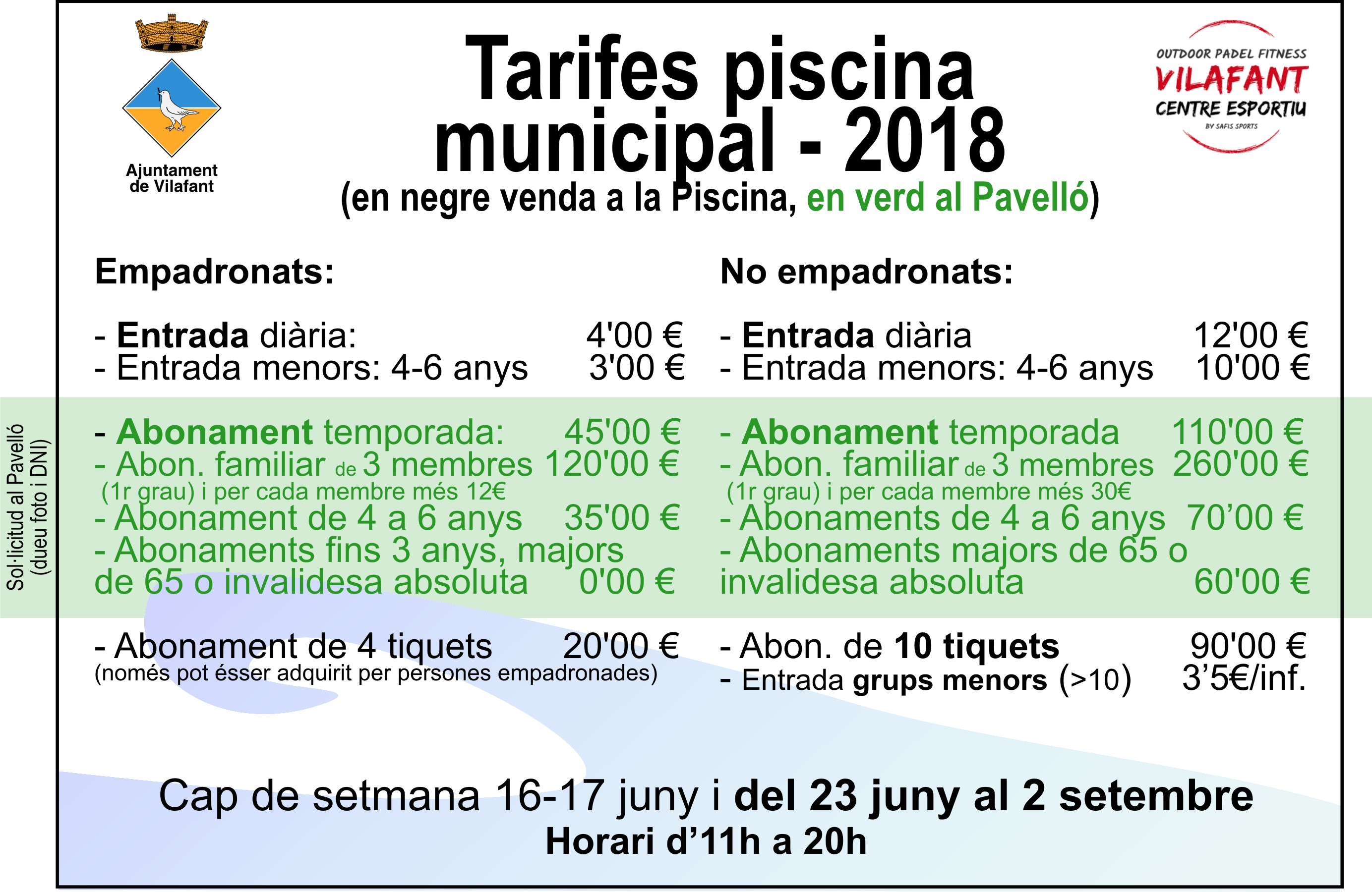 Tarifa Piscina Municipal de Vilafant 2018
