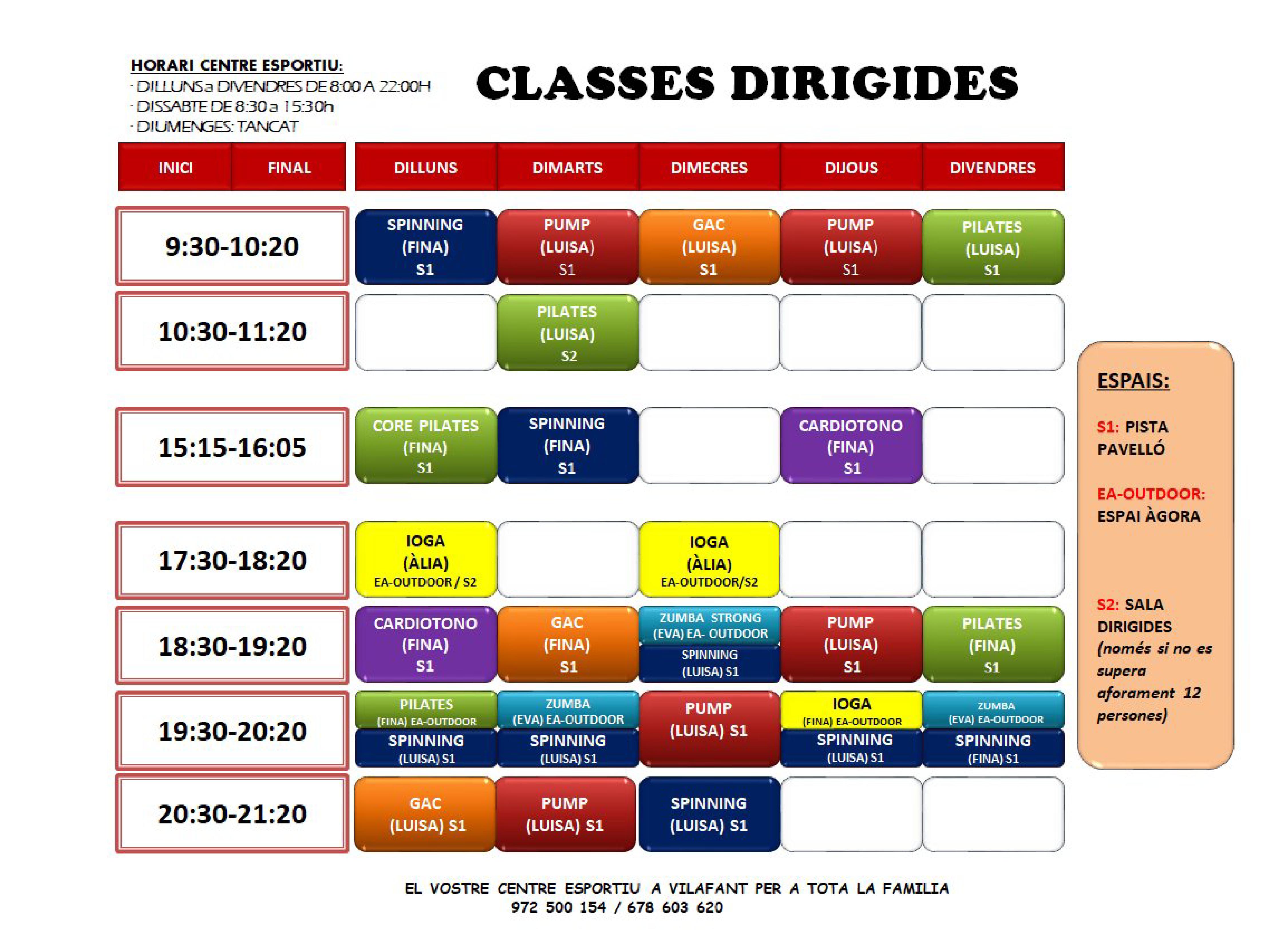 Classes Dirigides Estiu 2020