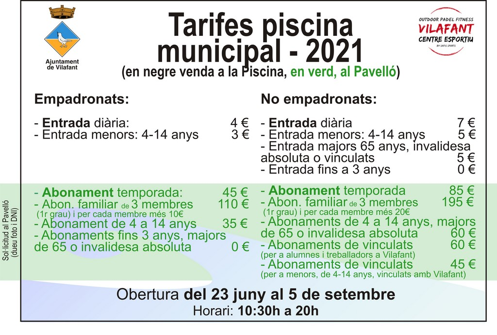 Tarifes piscina municipal 2021